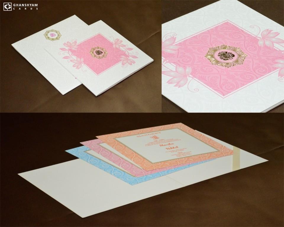 Floral Theme Light Pink Wedding Card GC 1010