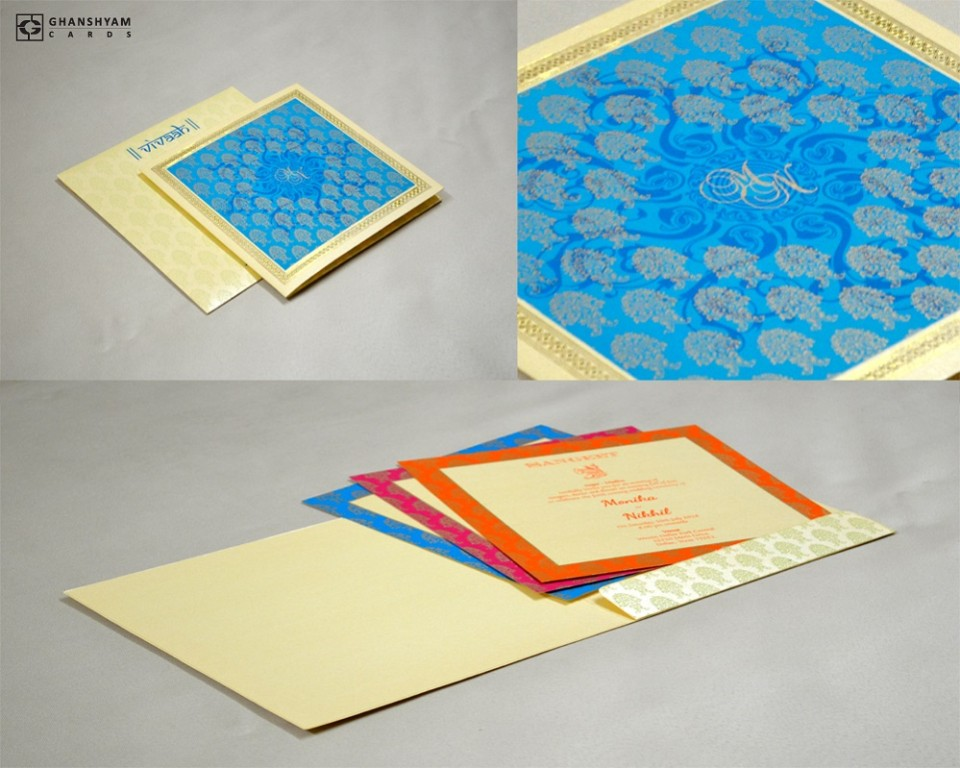 Blue Budget Wedding Card GC 1018