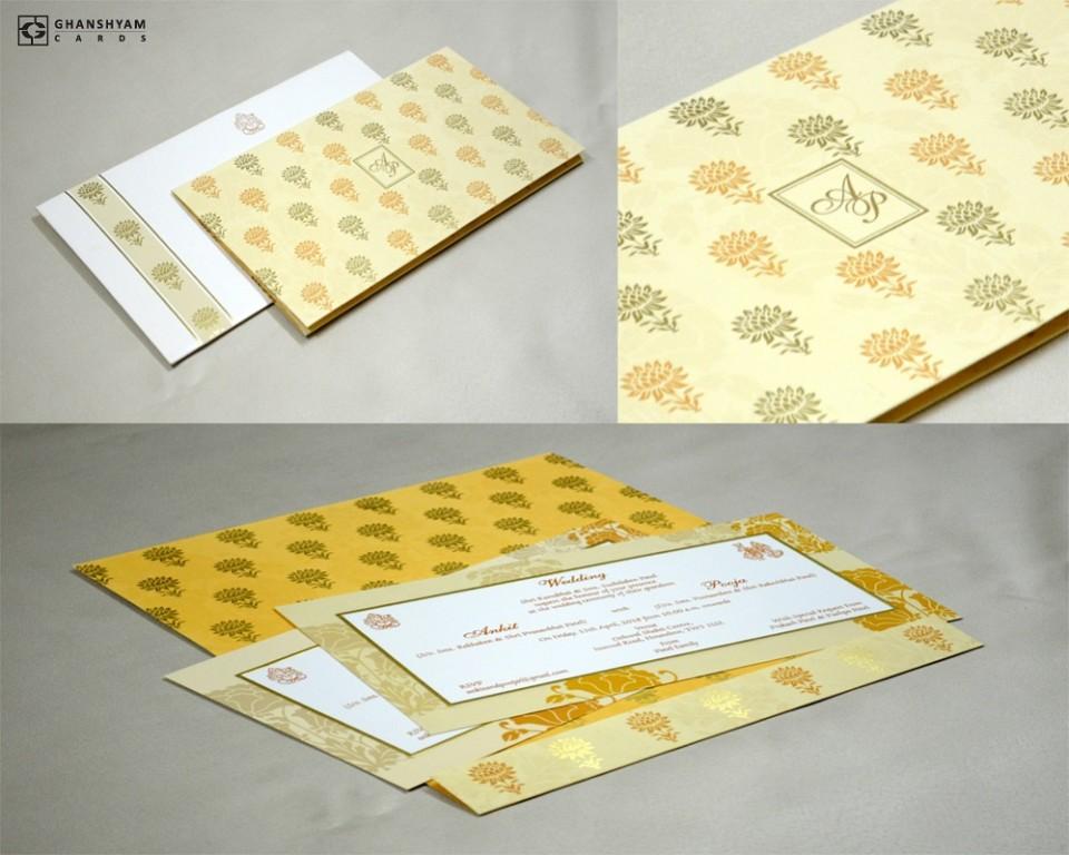 Cream Designer Wedding Card GC 1026