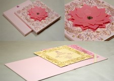 Pink Flower Cut Wedding Card Design GC 1065