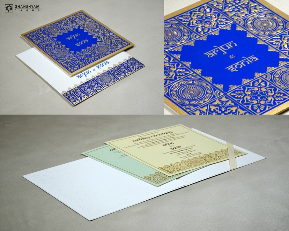 Blue Designer Wedding Card GC 2002