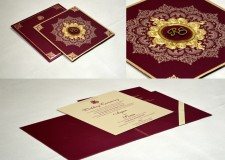 Maroon Designer Wedding Card GC 2007