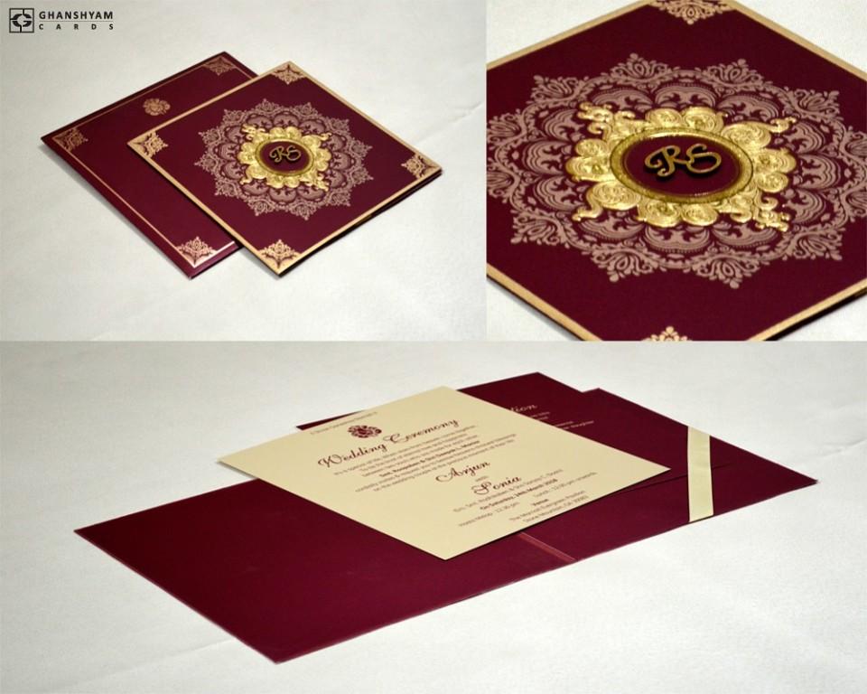 Maroon Designer Wedding Card GC 2007