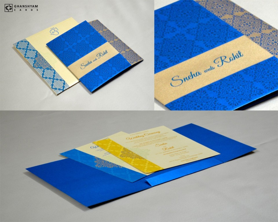 Blue Designer Budget Wedding Card GC 2008