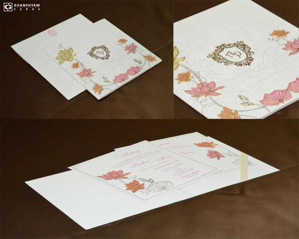 Floral Theme Wedding Card GC 2014
