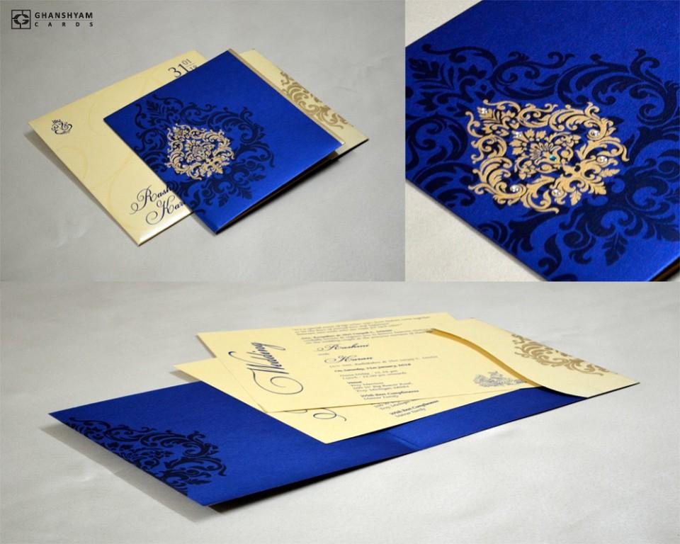 Royal Blue Budget Wedding Card GC 2016
