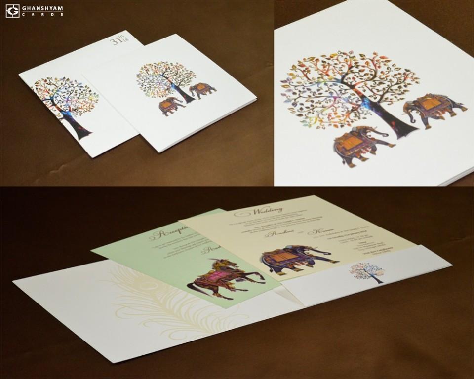 Tree and Elephant Theme Designer Wedding Card GC 2019