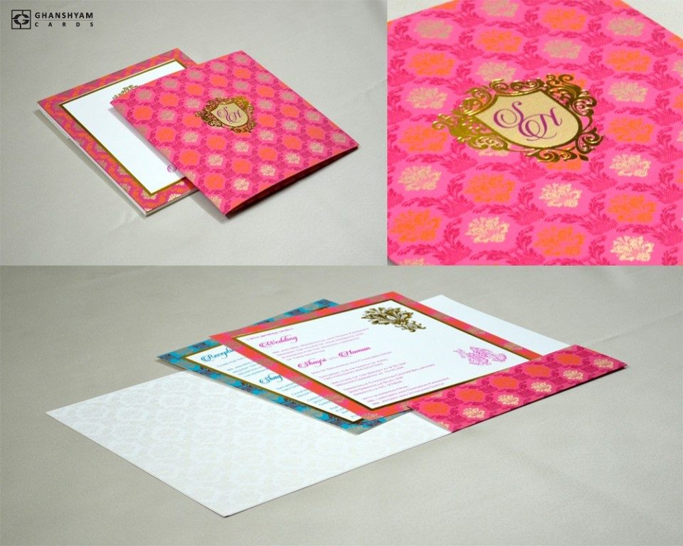 Pink Designer Wedding Card GC 2023