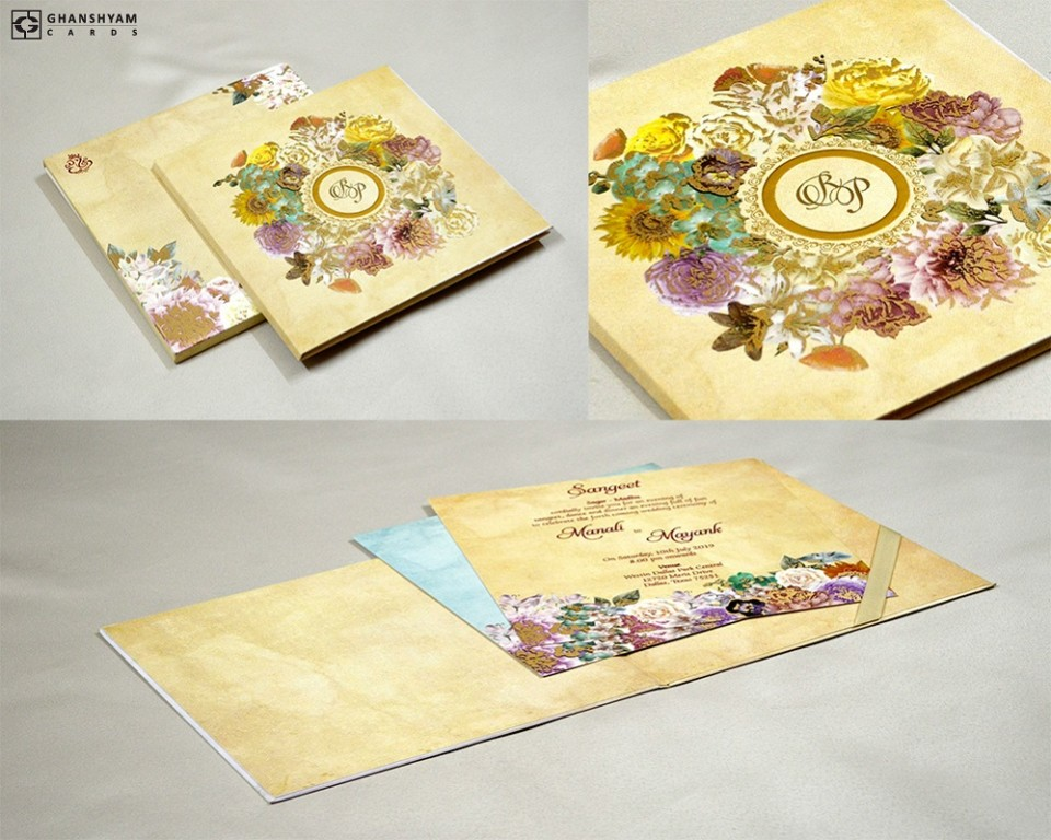 Designer Floral Wedding Card Gc 2062