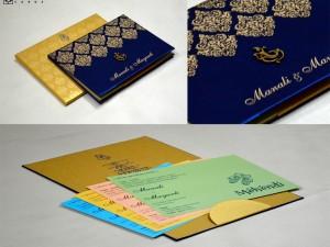 Blue Satin Cloth Wedding Card GC 2072