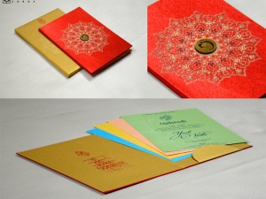 Red Satin Cloth Hindu Wedding Card GC 2074