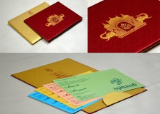 Temple and Elephant Theme Blue Satin Wedding Card GC 2077