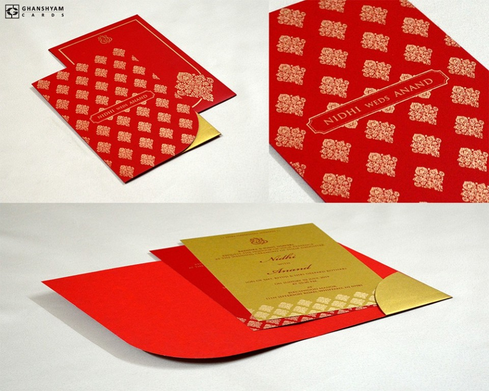 Red Designer Budget Wedding Card GC 3001
