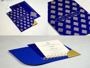 Blue Designer Budget Wedding Card GC 3002