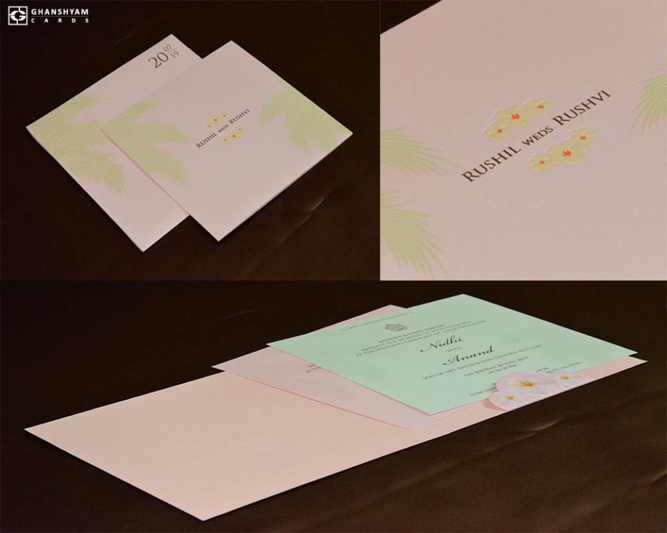 Pastel Pink Beach Theme Wedding Card Design GC 3003