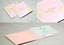 Baby Pink Coconut Leaf Theme Wedding Card GC 3003