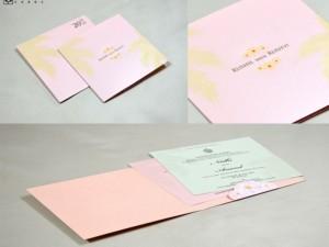 Baby Pink Coconut Leaf Theme Wedding Card GC 3003