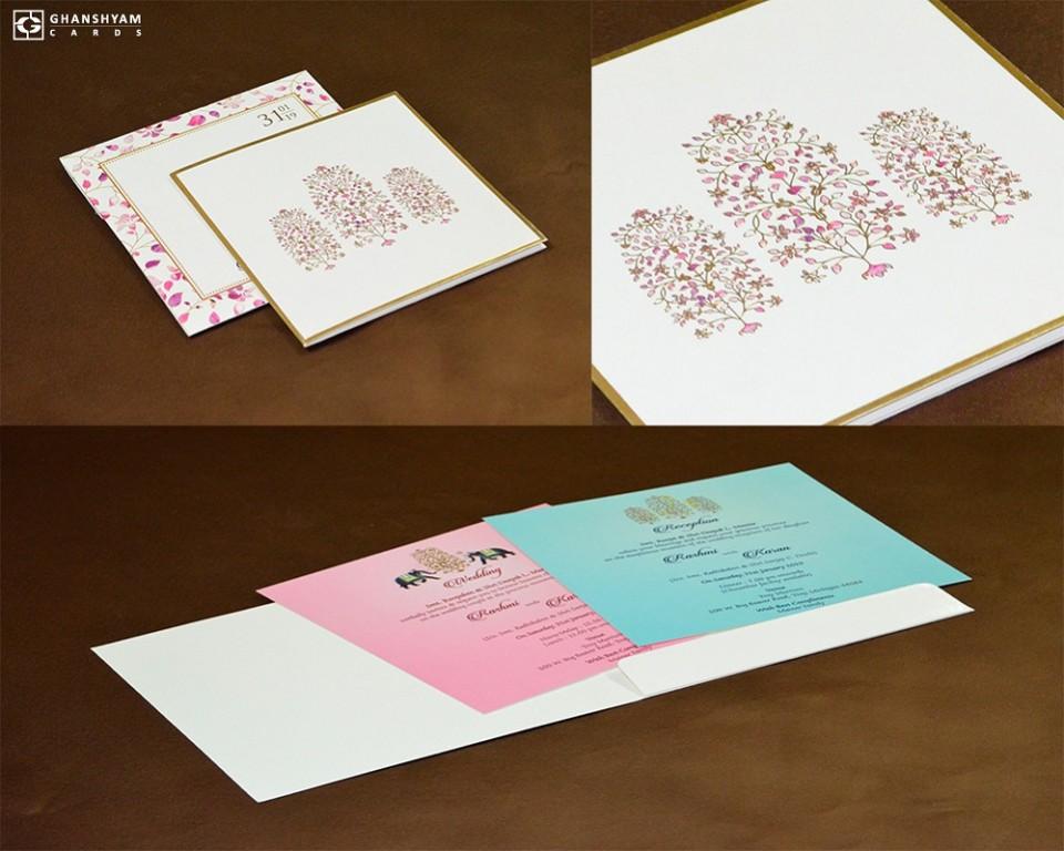 Budget Tree Theme Wedding Card Design GC 3005