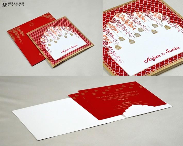 Red Bell Theme Wedding Card Design GC 3007