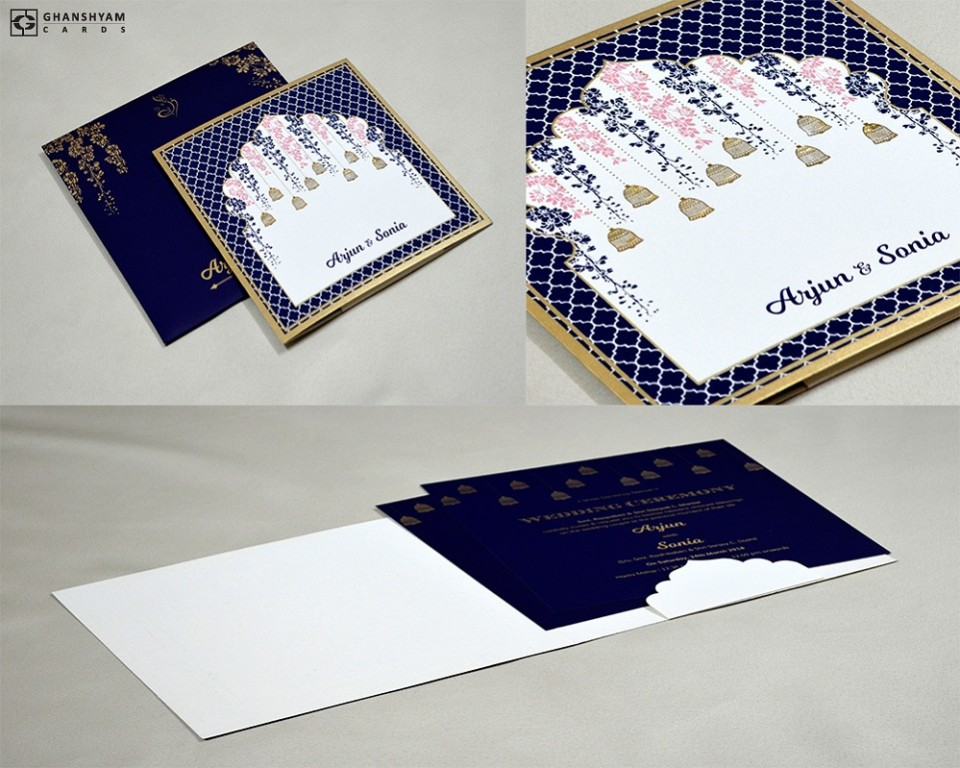 Blue Bell Theme Wedding Card Design GC 3008