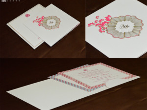 Designer Floral Theme Wedding Card GC 3009