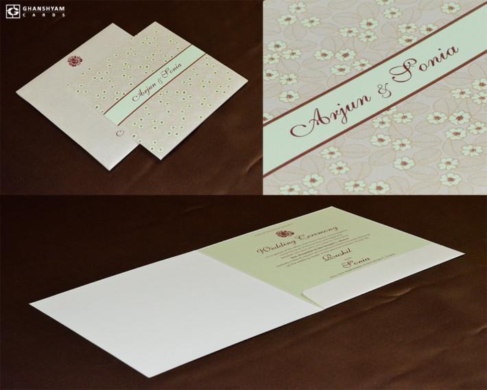 Light Weight Floral Wedding Card GC 3010