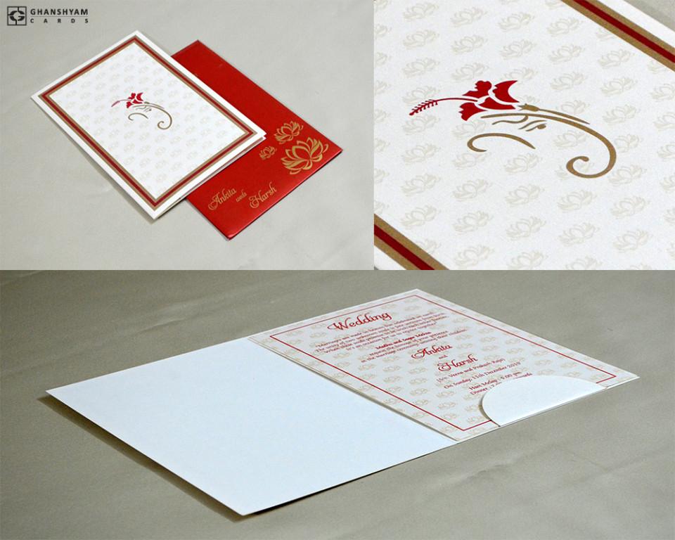 Ganesh Theme Hindu Wedding Card GC 3014