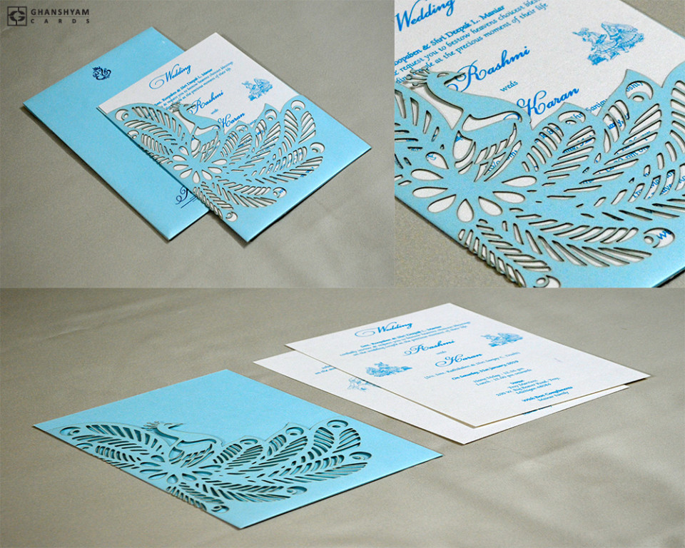 Blue Peacock Theme Lasercut Wedding Card GC 3015