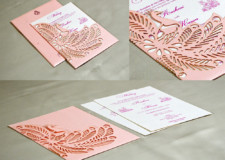 Pink Peacock Theme Lasercut Wedding Card GC 3016