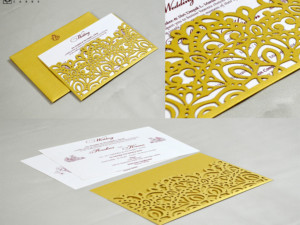 Golden Lasercut Theme Wedding Card GC 3017