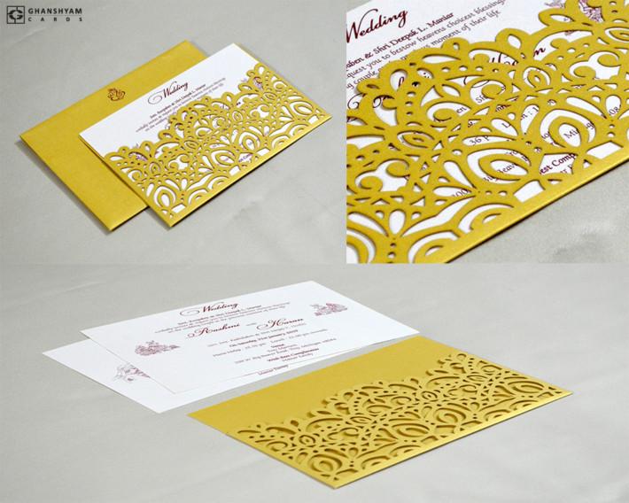 Golden Lasercut Theme Wedding Card GC 3017