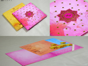 Pink Lotus Theme Wedding Card Design GC 3053