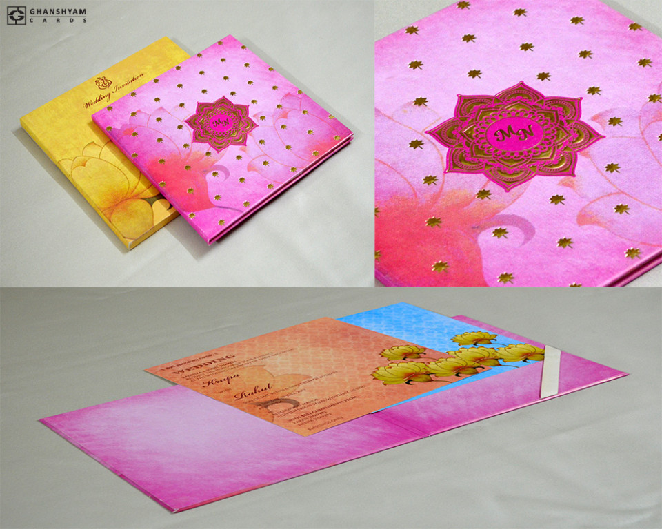 Pink Lotus Theme Wedding Card Design GC 3053
