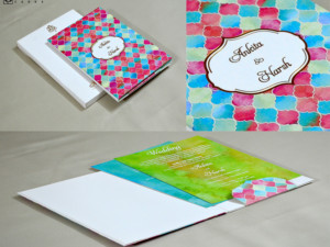 Multicolour Designer Wedding Card GC 3055