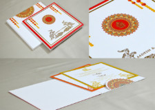 Marigold Flower Theme Wedding Card Design GC 3057