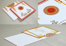 Marigold Flower Theme Wedding Card Design GC 3057