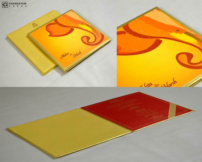 Ganesh Theme Hindu Wedding Card GC 3060