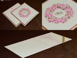 Floral Theme Padded Wedding Card Design GC 3067