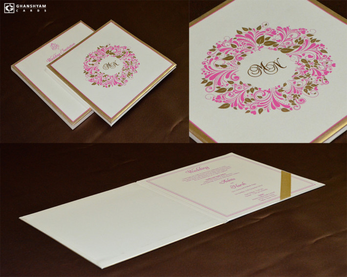 Floral Theme Padded Wedding Card Design GC 3067