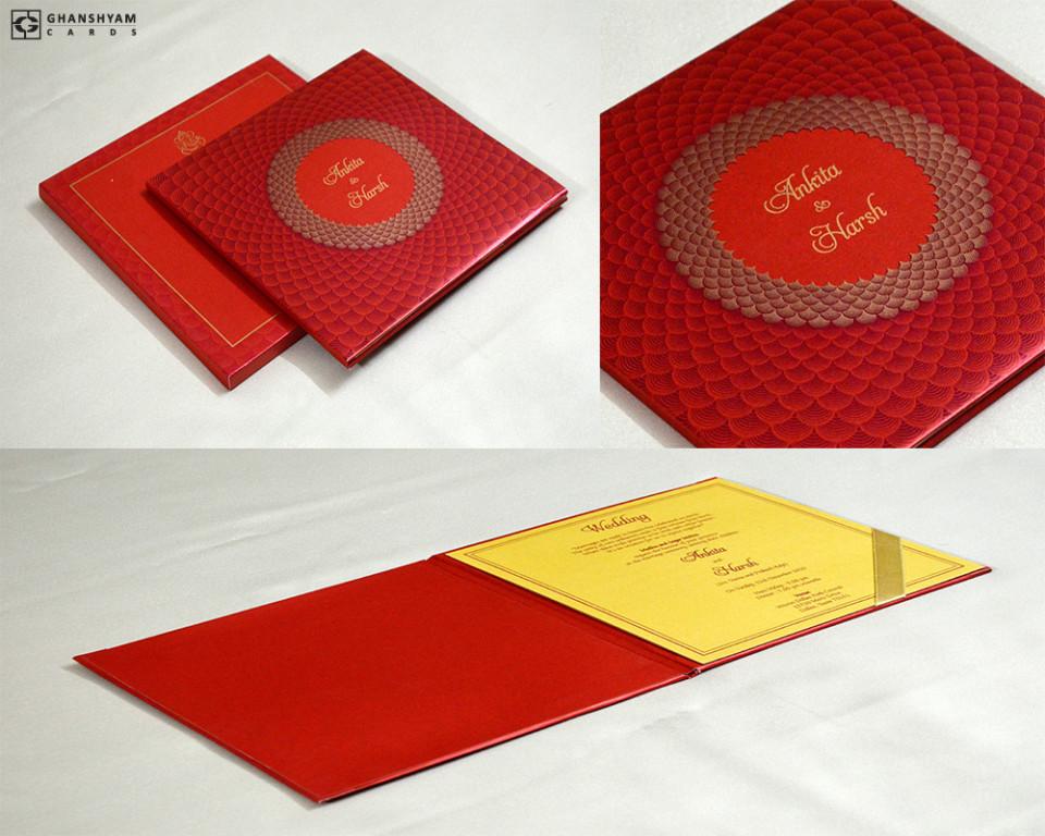Red Padded Wedding Card GC 3068
