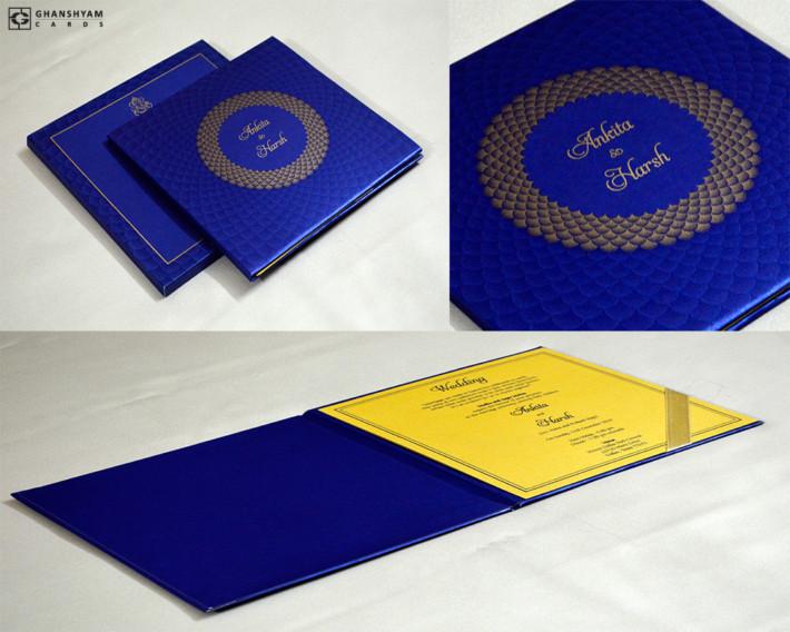 Blue Padded Wedding Card GC 3069