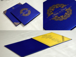 Blue Padded Wedding Card GC 3071