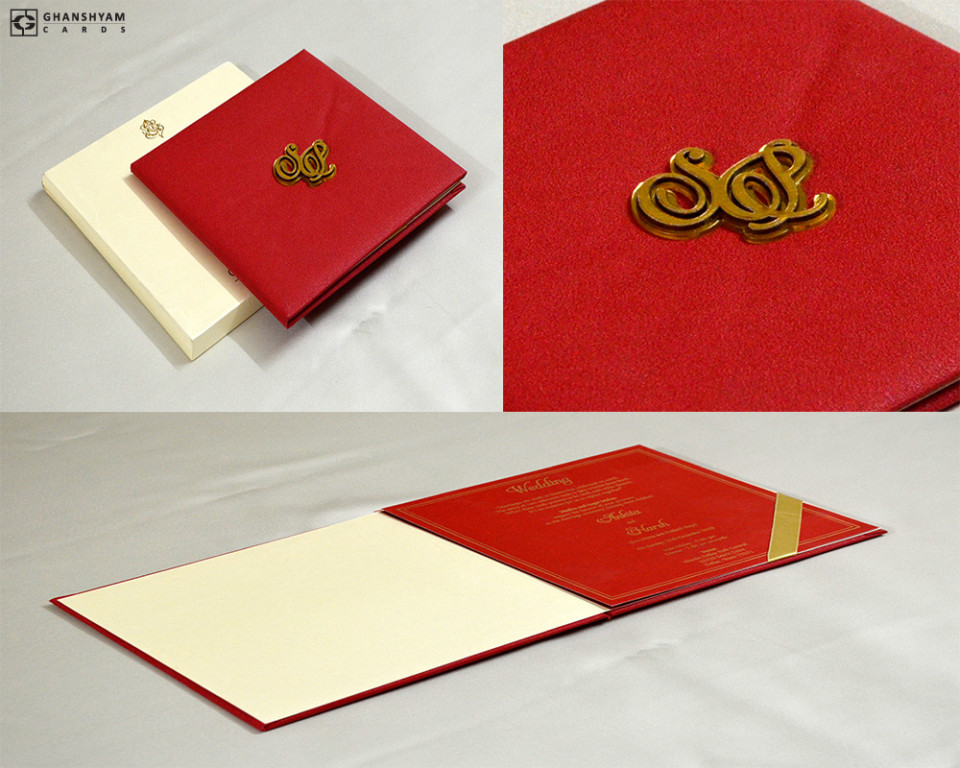 Red Spongy Soft Wallpaper Wedding Card GC 3073