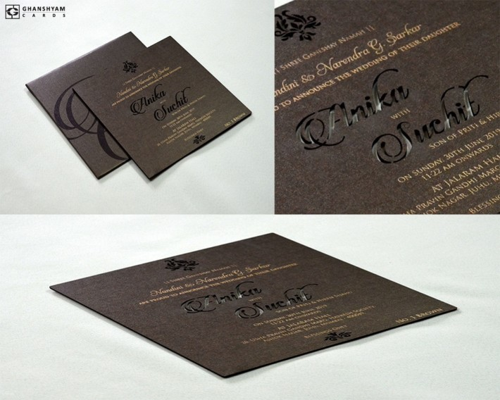Laser Cut Engagment Invitation Design LM 1 Brown