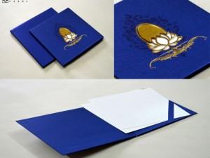 Lotus Theme Padded Wedding Card Design LM 117 Blue