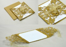 Center Opening Laser Cut Wedding Card Design LM 131 Gold