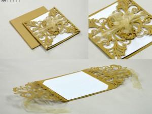 Center Opening Laser Cut Wedding Card Design LM 131 Gold