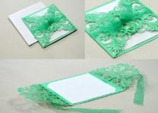 `Center Opening Laser Cut Wedding Card Design LM 131 Green