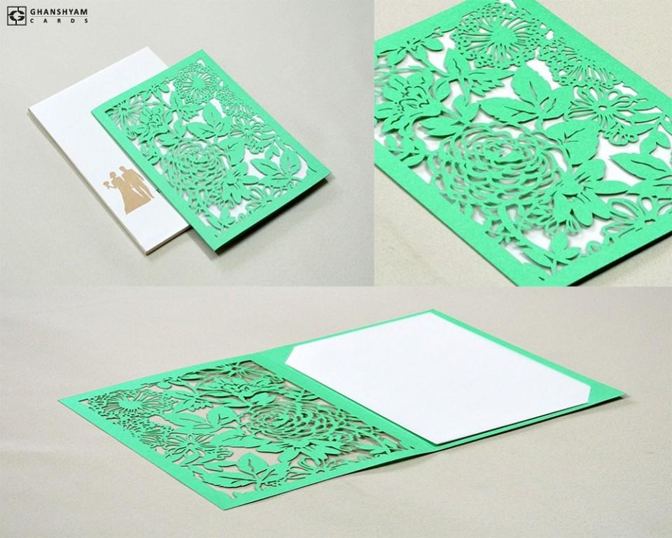 Laser Cut Wedding Card Design LM 132 Green