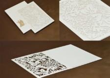 Laser Cut Wedding Card Design LM 132 White